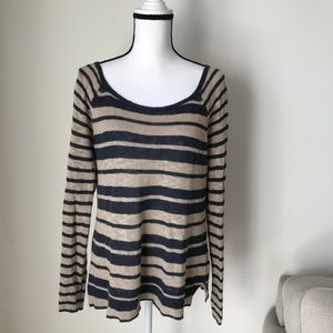 Lucky Brand Cream & Blue Striped Knitted Top